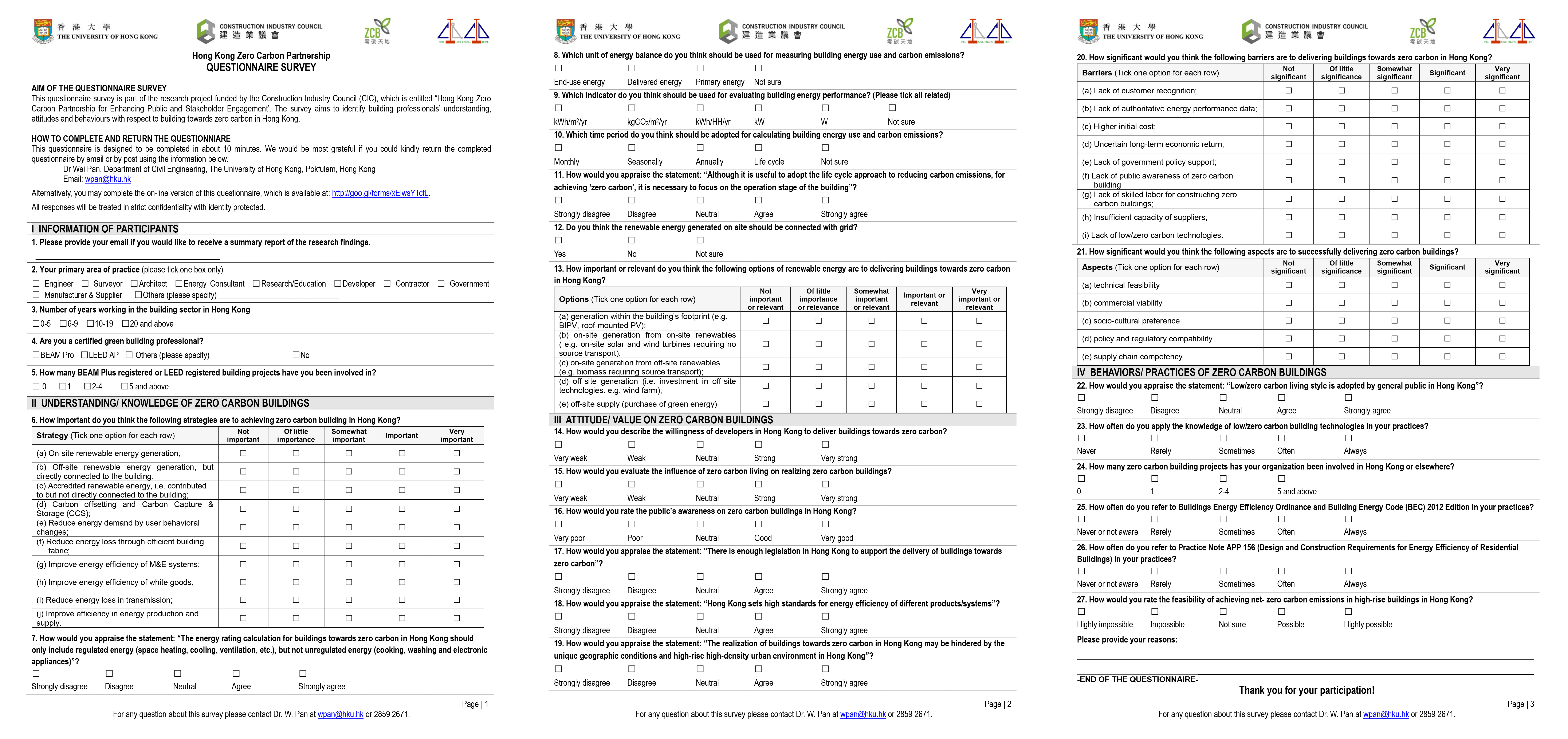 HKZCP Questionnaire Survey